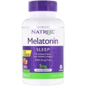Melatonine, 5 mg, 150 tabletten, snel oplosbaar, aardbeiensmaak, Natrol