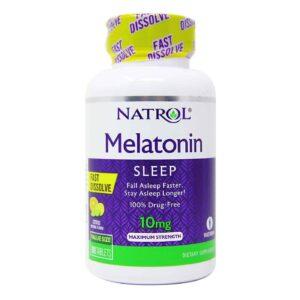 Melatonine, 10mg, 100 tabletten, snel oplos, Citrusaroma, Natrol