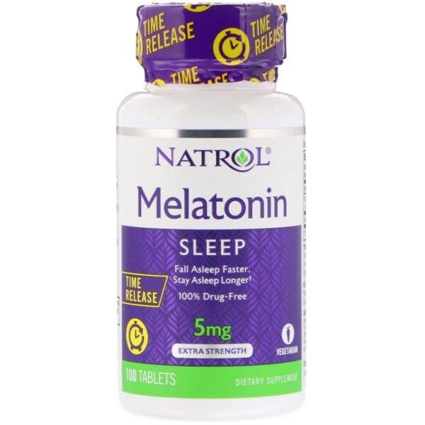 Melatonine, 5 mg, vertraagde afgifte, 100 tabletten, Natrol